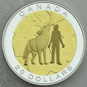 2014 20 Seven Sacred Teachings Humility Wolf 1 Oz Pure Silver Proof Coin + Gold