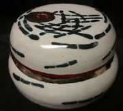 """MODERN ART POTTERY Ginger Pot Jar w/Lid Signed Gold Paint Abstract Bamboo 6"""""""