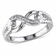 Amour Sterling Silver Diamond Fashion Infinity Swivel Ring
