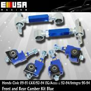 Front And Rear Adjustable Camber Kits Blue For 91-93 Honda Civic Emusa