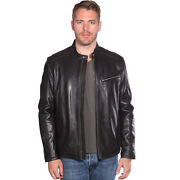 Mens Contemporary Cafe Racer Lambskin Leather Jacket B1115