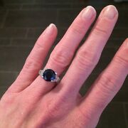 Vintage 4ct. Blue Sapphire And Diamond Ring Set In Platinum. Perfectly Elegant