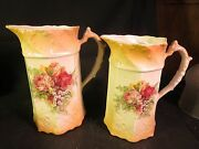 Graduated Pair Of Vintage Porcelain Pitchers Red, Pink And Yellow Roses
