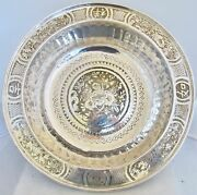 Big 14.7 Antique Chinese Silver On Brass Centerpiece Bowl With Flowers And Birds