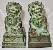 Antique Pair Of Chinese Bronze Foo Dogs Or Shi Shi Temple Lions 4.85