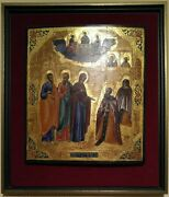 Antique Russian Hand Painted Russian Icon Apperance Of Mother Of God St.serguis