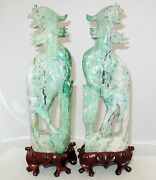 Antique 12.35 Pair Of Chinese Carved Green And White Jadeite Jade Phoenix Birds