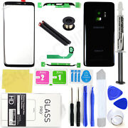 For Samsung Galaxy S9 G960 -oem Black- Front Screen Glass Back Replacement Kit