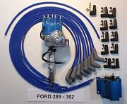 Ford 302 289 Blue Small Cap Hei Distributor +50k Coil+universal Spark Plug Wires