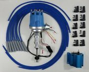 Ford Y Block 256-272-292-312 Blue Small Hei Distributor, Coil + Spark Plug Wires