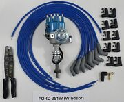 Ford 351w Blue Small Cap Hei Distributor And Universal Spark Plug Wires 45-crimper