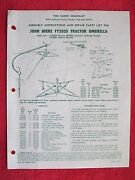 Rare 1977 Snow Co John Deere Ty2035 And Ty2001 Tractor Umbrellainst.and Parts List