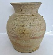 7.4 Chou Dynasty Antique Chinese Straw Yellow / Brown Glazed Earthenware Vase