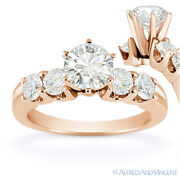 Round Cut Moissanite 5 Five-stone Open U-prong Engagement Ring In 14k Rose Gold
