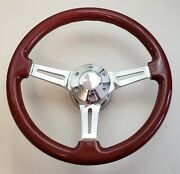 14 Mahogany Classic Wood Chrome Spoke Steering Wheel + Horn Button + Adapter