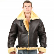 B3 Shearling Leather Jacket Bomber Fur Pilot World Ii Flying Aviation Air Force