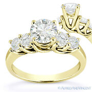 Round Cut Forever Brilliant Moissanite 14k Yellow Gold 5-stone Engagement Ring