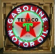 Texaco Gasoline And Motor Oil Neon Sign - Gas - 36 - Metal Can - Texas Star - New