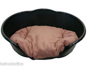 Extra Large Black Plastic Dog Bed / Cat Bed With Brown Cushion - Basket