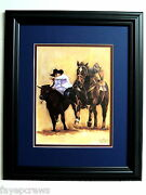Western Cowboy Picture Bulldogging Rodeo Cowboy Matted Framed 11x14