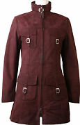 Womens Purple Real Nubuck Leather Jacket Coat 3 Quarter Length And039all Sizeand039 8v