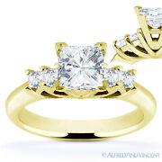 Square Cut Forever Brilliant Moissanite 14k Yellow Gold 5-stone Engagement Ring