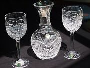 Exquisite Waterford Hand-cut Crystal Decanter And Wine Glasses - Artisan Pattern