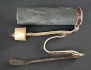 Midcentury Wooden Ovambo Snuff Box With Iron Snuff Spoon Namibia 1940and039s