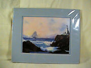 Al King Art Print, Ship And Lighthouse, Guiding Hand Protecting The Ship, Matted