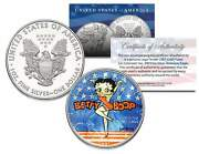 Betty Boop 2001 American Silver Eagle Dollar 1 Oz Colorized Us Coin Licensed
