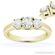 Forever Brilliant Round Cut Moissanite 14k Yellow Gold 3-stone Engagement Ring