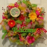 Summer Yellow,green,and Pink, Flower,ribbon Lemonade Deco Mesh Welcome Wreath