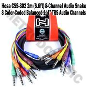 Hosa Css-802 2m 6.6ft 8-channel Balanced Audio Snake Cable Stereo Male 1/4 Trs