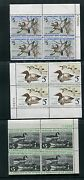 Federal Duck Stamps Rw41- 53 Vf, Nh Plate Blocks