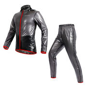 Men Women Rain Coat Windproof Waterproof Jacket Bicycle Trousers Sport Suit Gift
