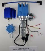 Ford Fe 352-360-390-427-428 Blue Small Cap Hei Distributor And 50k Volt Blue Coil
