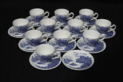 Rare Set Of 11 Cups And 12 Saucers Happy England Demitasse Johnson Brothers