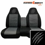 60-40 Hi Back Truck Seat Covers Fit 91-03 Ranger / Blk Charcoal W Bear Claw Logo