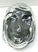 Very Rare Art Deco Lady Face Clear And Black Glass Powder Jar