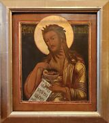 Antique Rare 19c Hand Painted Russian Icon John The Baptist On Gold