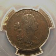 1806 Draped Bust Half Cent, C-1, Small 6, Stemless, Pcgs Xf-40