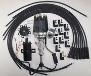 Ford Y Block 272-292-312 Black Small Hei Distributor +45k Coil +spark Plug Wires