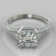 2.50ct Asscher Cut Engagement Ring In 14k White Gold - Matching Band Available