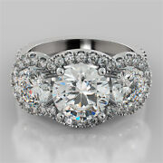 3.98ct Round Cut 3-stone Engagement Ring With Accents In 14k White Gold