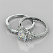 2.94ct Emerald Cut Engagement Ring With Matching Band In 14k White Gold