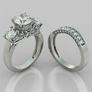 3.54ct Round Cut Engagement Ring And Matching Band Available In 14k White Gold