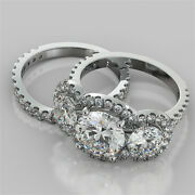 4.33ct Round Cut Engagement Ring With Matching Band In 14k White Gold