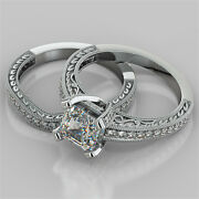 2.19ct Asscher Cut Engagement Ring And Matching Band Available In 14k White Gold