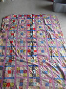 Big Vintage 1950s Handmade Colorful Crazy Patch Quilt 92 X 72 Inches