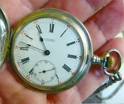 Longines Silver Case Pocket Watch/anitique Solid Silver Chain And Fob